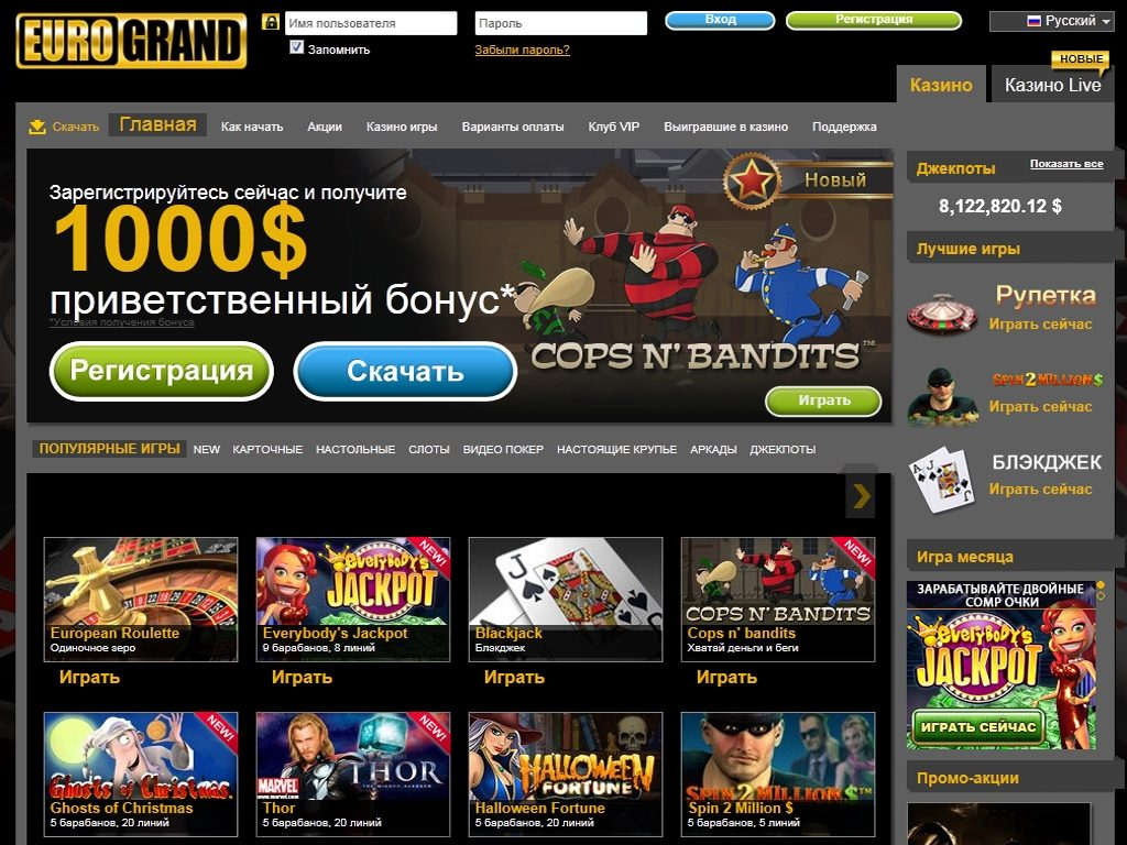 Обзор онлайн казино Еврогранд