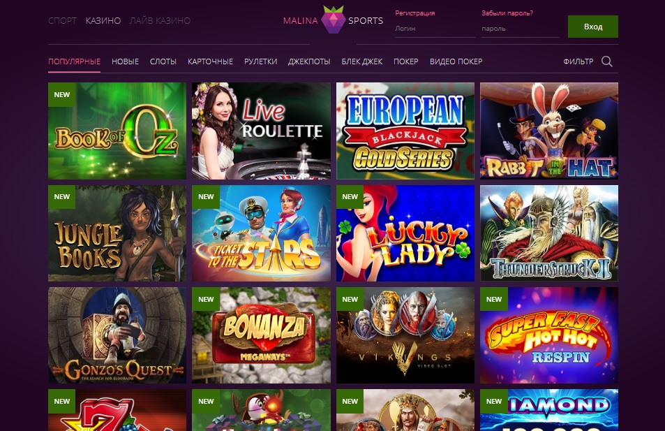 Обзор онлайн казино Малина (Malina Casino)